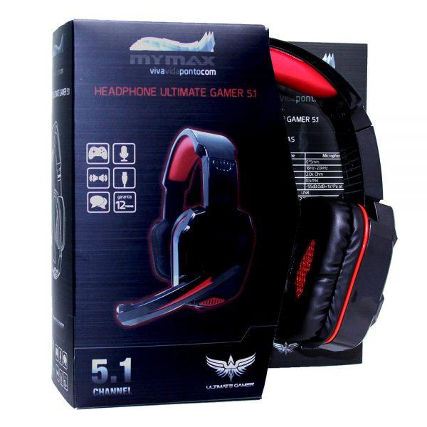 008646_2 Headphone Ultimate Gamer USB 2.25M Nylon - Preto/Vermelho - MHP-SP-X9/BKRD