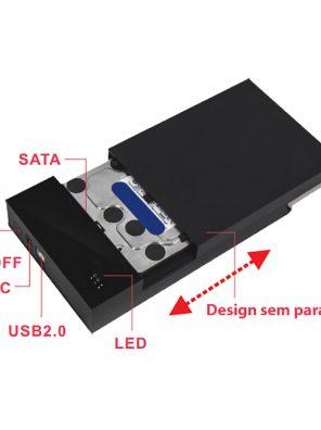 "008688_2 - Case HD Externo 3.5"" USB 2.0 - Preto - MENC-35TU2 BK"