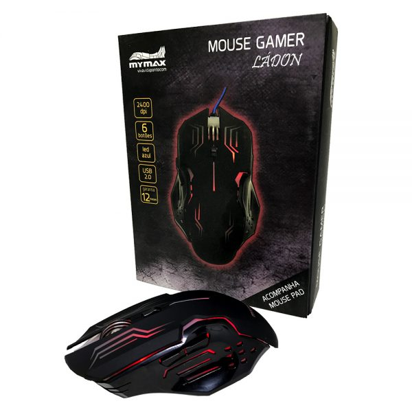 008739_3 Mouse Gamer Ládon 2400 DPI - Preto Led Vermelho - OPM-X15/RD