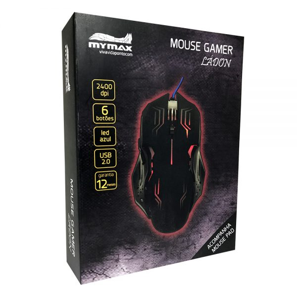 008739_4 Mouse Gamer Ládon 2400 DPI - Preto Led Vermelho - OPM-X15/RD
