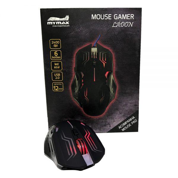 008739_6 Mouse Gamer Ládon 2400 DPI - Preto Led Vermelho - OPM-X15/RD