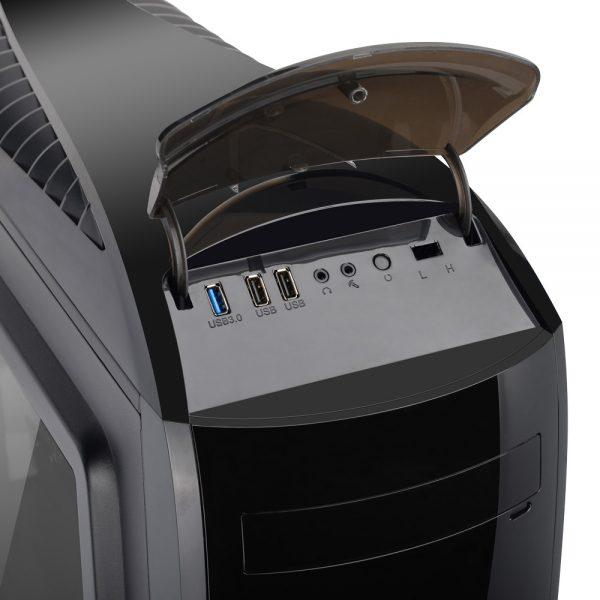008786_3 GABINETE GAMER PEGASUS C/ USB 3.0 - PRETO LED AZUL MCA-FC-CO07A/BK
