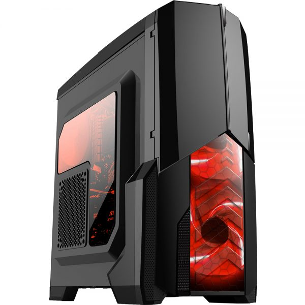 008848_1 GABINETE GAMER CENTAURO C/ USB 3.0 - PRETO LED VERMELHO MCA-KU-855B/RD