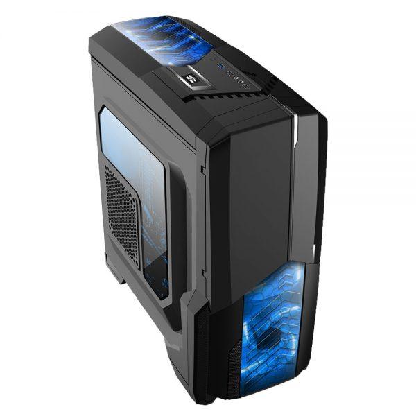 008849_4 GABINETE GAMER CENTAURO C/ USB 3.0 - PRETO LED AZUL MCA-KU-855B/BL