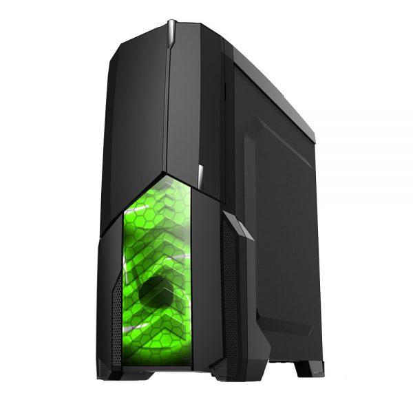 008850_2 GABINETE GAMER CENTAURO C/ USB 3.0 - PRETO LED VERDE MCA-KU-855B/GR