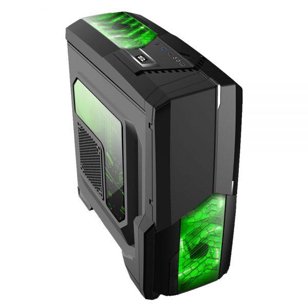 008850_4 GABINETE GAMER CENTAURO C/ USB 3.0 - PRETO LED VERDE MCA-KU-855B/GR