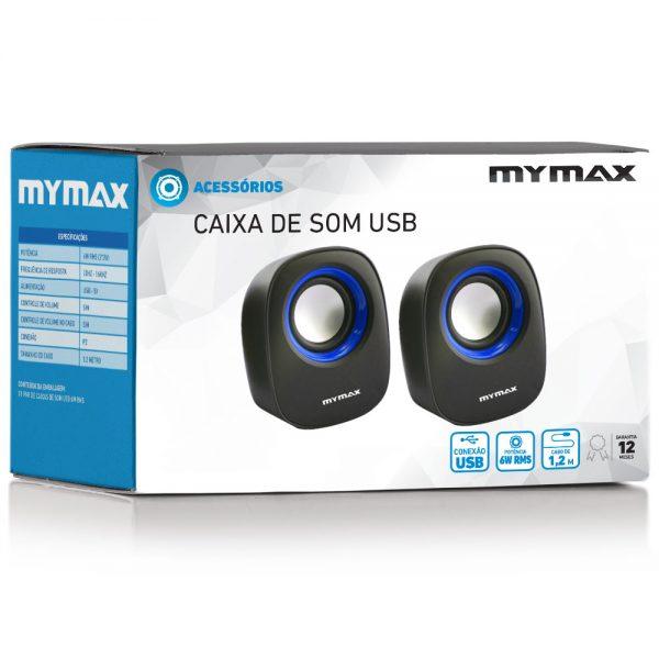 008860_4 Caixa de Som USB 6W RMS - Preto Azul - SPK-SP205/BL