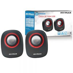008862_3 Caixa de Som USB 6W RMS - Preto Vermelho - SPK-SP205/RD