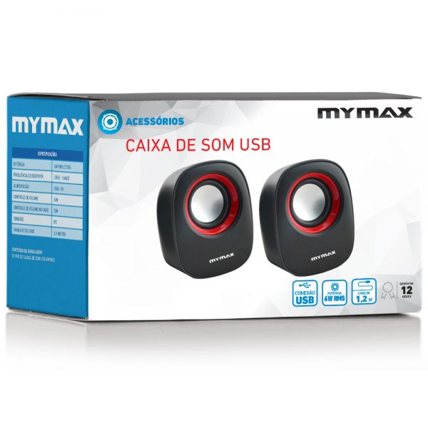 008862_4 Caixa de Som USB 6W RMS - Preto Vermelho - SPK-SP205/RD