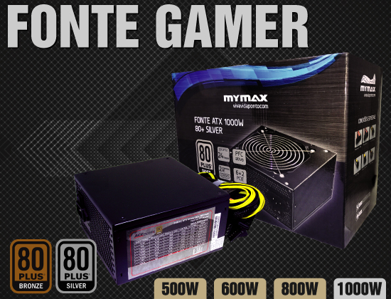 Fonte Gamer 80 Plus Bronze Silver 500W 600W 800W 1000W