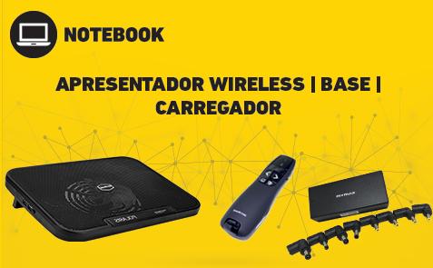 Produtos para seu notebook - Base refrigeradora, apresentador wireless, ventilador portátil