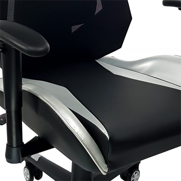 Cadeira Gamer MX10 Giratoria Preto e Prata - Mymax